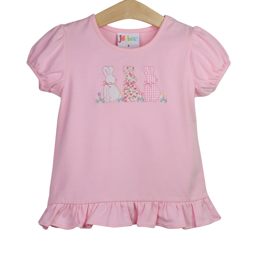 Bunny Trio Ruffle Applique Shirt