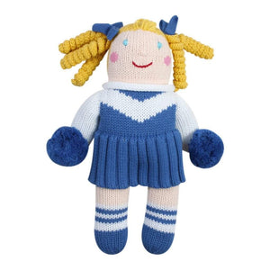 Cheerleader Knit Doll - Royal Blue & White 7""