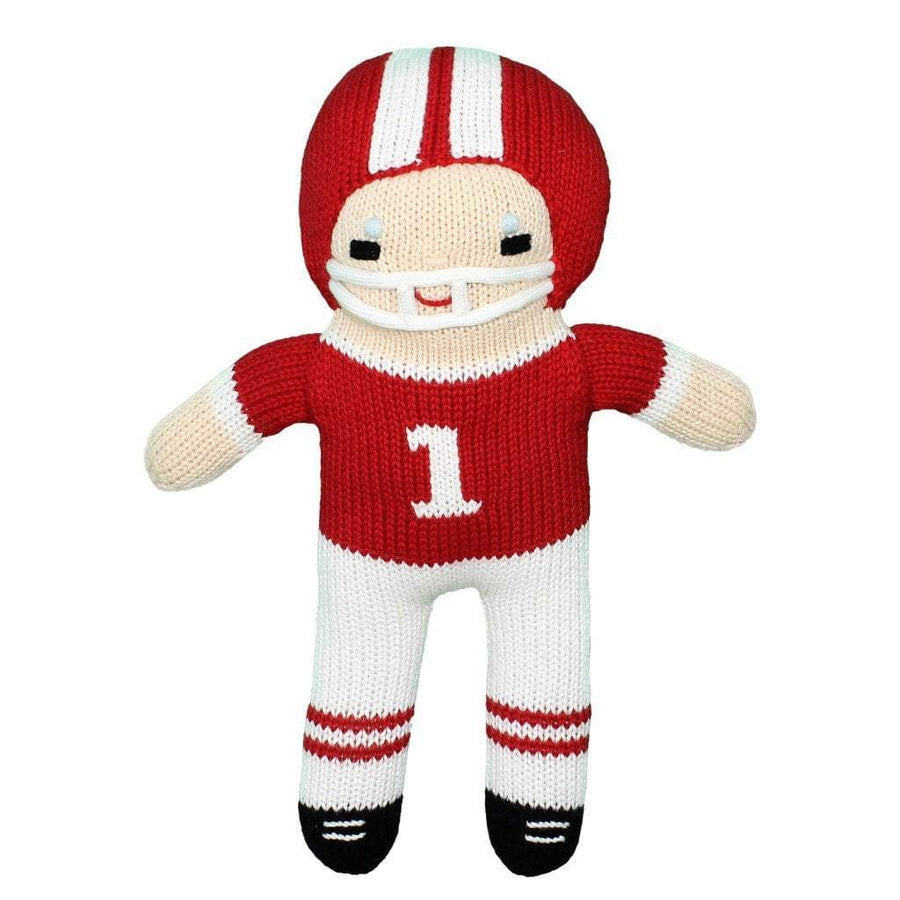 Football Player Knit Doll - Red & White 7""
