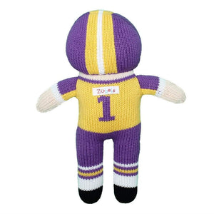 Football Player Knit Doll - Purple & Gold 7""
