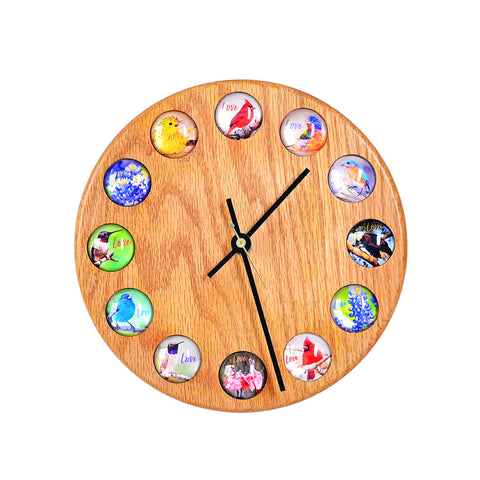 Bird and Wildflower Glass Photo Clock