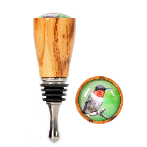 Ruby-Throat Hummingbird with Olive Wood