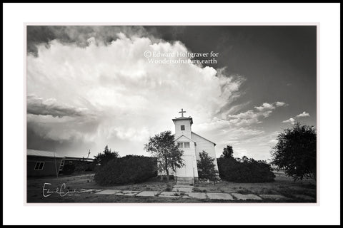 "Nebraska Church with storm approaching 20"" x 30"""