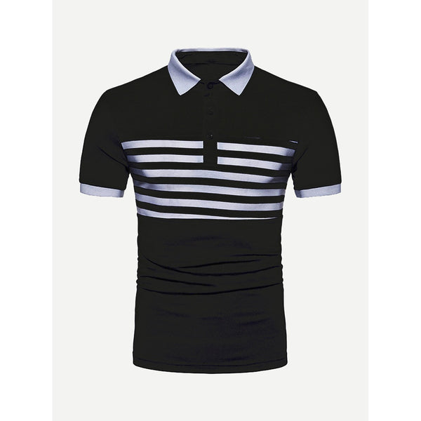 Men Striped Detail Ringer Polo Shirt