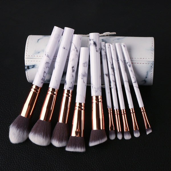 10pcs/set Marble Multifunctional Makeup Brush Set - PEARLY MUSIC