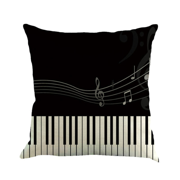 Music Note Painting Linen Cushion Cover