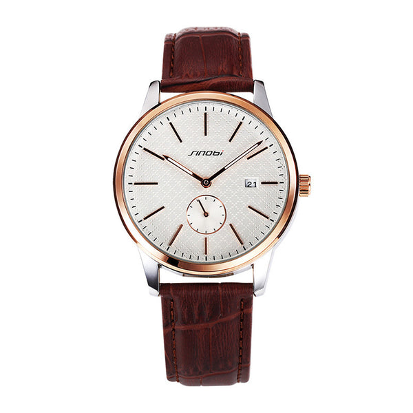 Luxury Men Watch Leather Strap - PEARLY MUSIC