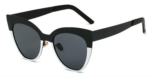 Cat Eye Women Sunglasses  Black White Metal Frame