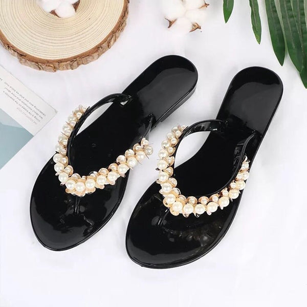 Women Flat Sandals With Pearl
