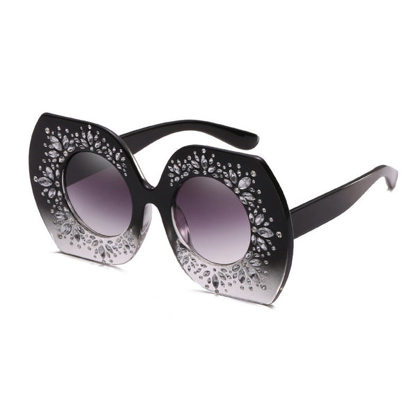 Retro Women Sunglasses Oversized Crystal