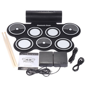 Portable Foldable Silicone Electronic Drum Pad Kit - Santas Gadget Helper