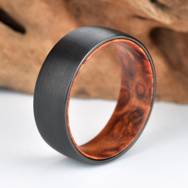 Gun Metal Grey Tungsten Wedding Ring - Exotic Rose Wood Burl