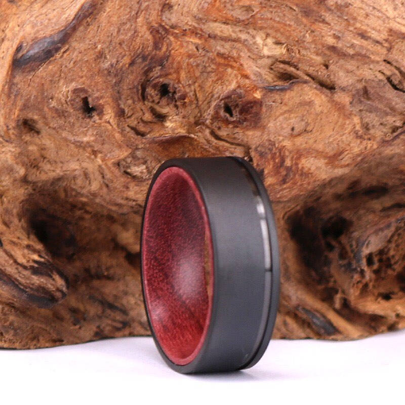 Black Titanium Wedding Ring - Exotic Purple Heart Wood