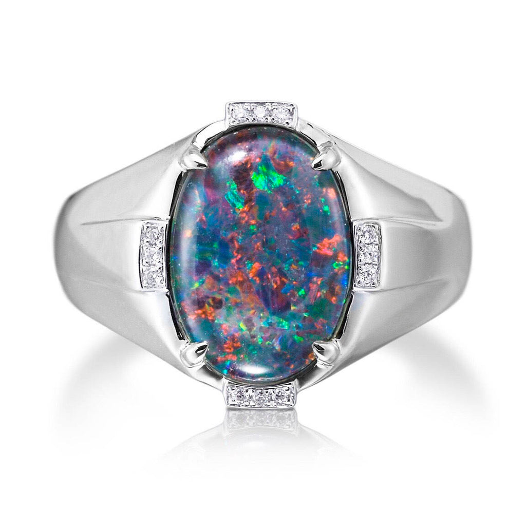 Opal And Diamond Ring 18kt White Gold