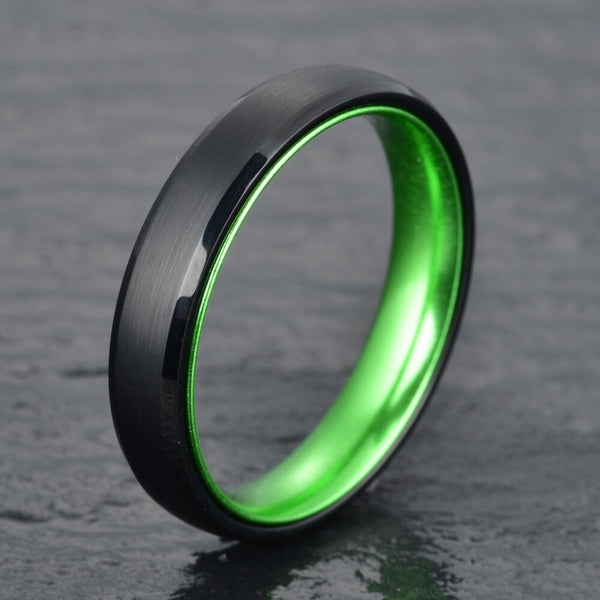 Black Tungsten Wedding Band - Pristine Green