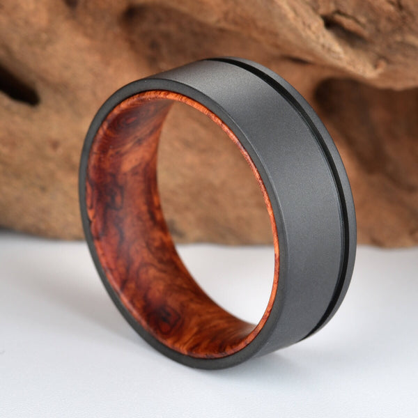 Gun Metal Grey Titanium Wedding Ring - Exotic Rose Wood Burl