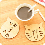 Wood Laughing Cat Coasters - Set of 2