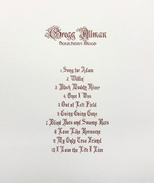 Southern Blood Track Listing