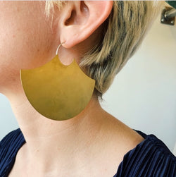 Large Brass Disc Fan Earrings
