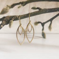 Kinetic brass leaf earrings
