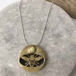 Save the Bees!! Cutout necklace with serpentine