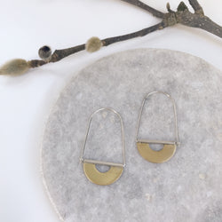 Brass drop hoop earrings