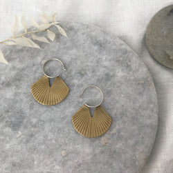 Etched brass fan disc earrings