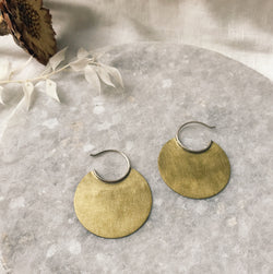 Medium brass disc earrings with sterling hoops