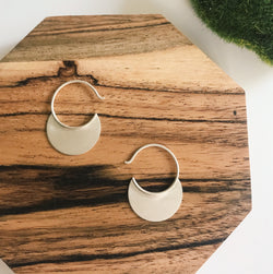 Small silver disc hoops