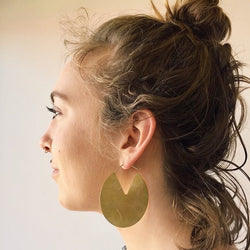 BIG geometric brass disc hoop earrings