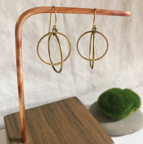 Short kinetic hoop within hoops drop earrings