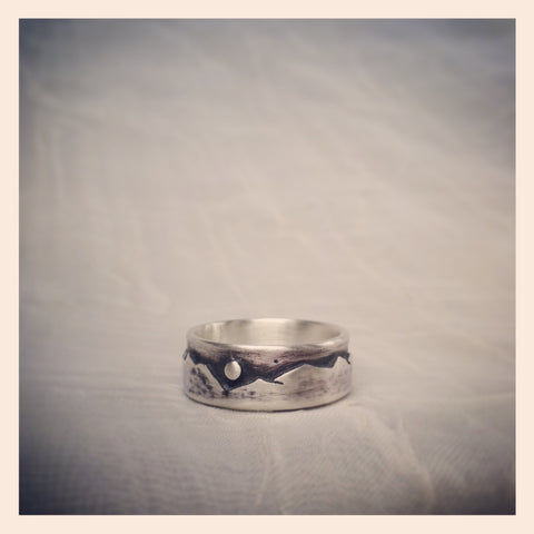Handcrafted Sterling Silver Mountain Ring