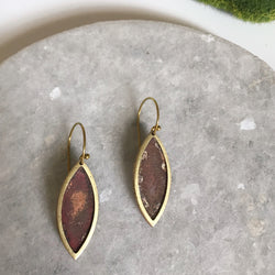 Rustic brass and copper leaf earrings