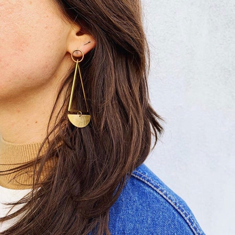 Geo dangle stud hoops