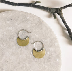 Tiny brass disc circle sterling hoops