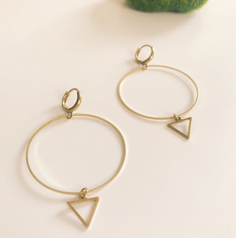 Simple triangle charm hoops