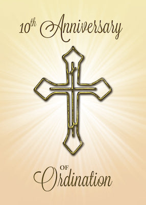 52235J 10th Anniversary of Ordination, Gold Cross on Starburst