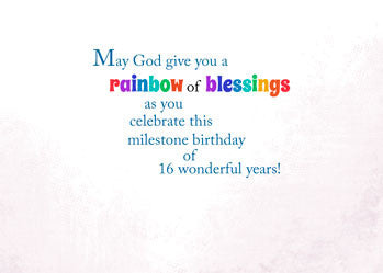 51881 16th Birthday Religious Card, Rainbow Blessings