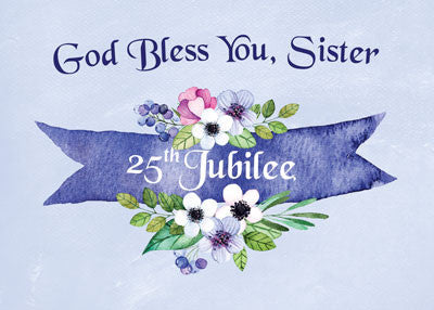 52474 25th Nun Jubilee Watercolor Floral Banner