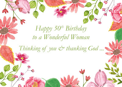 52273AA 50th Birthday Wonderful Woman Watercolor Flowers Religious