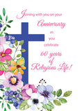 52478 60th Anniversary, Nun, Religious Life Cross and Flowers