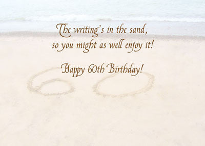 52021 60th Birthday Writing in Sand Seashore