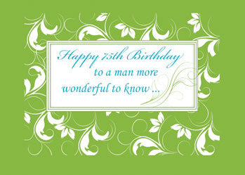 51706 75th Birthday to Man Green Swirls