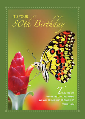 52129 80th Birthday Butterfly on Red Flower