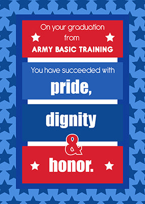 51661G Army Basic Training Graduation Congratulations Red, White, Blue Stripes Stars