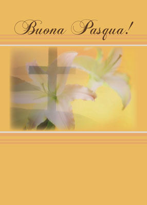 51888 Italian Christian Easter Card, Lily, Cross, Buona Pasqua