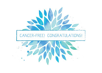 52331 Cancer Free Celebration, Blue, Teal Watercolor Flower
