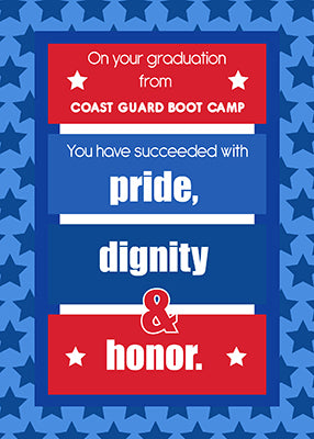 51661M Coast Guard Boot Camp Graduation Congratulations Red, White, Blue Stripes Stars