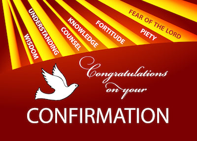 52357 Confirmation Congratulations Gold & Red Rays