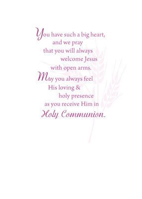 51882 Daughter First Communion Card, Pink